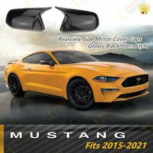 Fit Ford Mustang 2015 21 Rearview Side Mirror Cover Caps Horn Style Gloss Black
