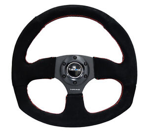 Nrg 320mm Racing Sport Steering Wheel Black Suede Red Stitch Oval Bottom