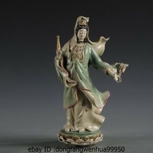 Painted Pottery Porcelain Statue Willow Branch Vase Kwan Yin Guanyin Bodhisattva