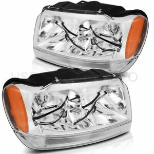 Fits 1999 2004 Jeep Grand Cherokee Headlights Headlamp Assembly Replacement Pair