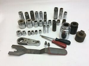 Vtg Lot 37 Pc All Snap On Tools 3 8 1 2 3 4 Drive 12pt Pass Through Wa28 7 8