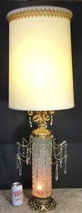 Vtg Mid Century Hollywood Tall Table Lamp Waterfall Crystal Prisms Drum Shade