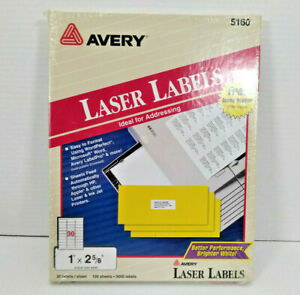 Vtg 1996 Avery 5160 Laser Labels 3000 Ct 1 X 2 5 8 100 Sheets Brand New Sealed