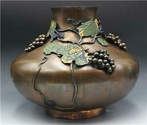 Large Antique Chinese Qing Period Bronze Vase W Champleve Applied Grapes