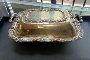 Vintage Sterling Silver Floral Motif Butter Dish With Cover By Camusso 9 X 7