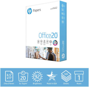 Hp Printer Paper 8 5x11 Office 20 Lb 1 Ream 500 Sheets 92 Bright 172160r
