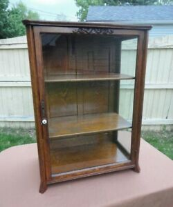 Antique Upright Oak Display Case Show Case With Wavy Glass On 3 Sides R Nice