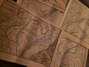 18 Large 70 Year Old Maps Lower Mississippi River Army Engineers 17x12 Choice