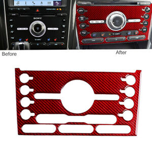 For Ford Explorer 2013 19 Red Carbon Fiber Center Console Ac Switch Panel Cover