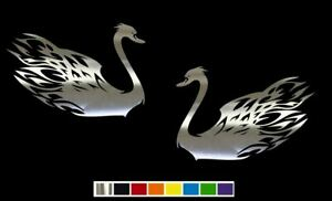 2 Flaming Goose Swan Vinyl Decal Set Custom Size Color For Cars Trucks