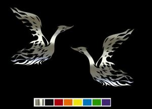 2 Flaming Swan Goose Vinyl Decal Set Custom Size Color For Cars trucks