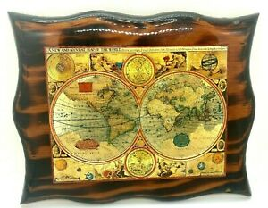 A New And Accvrat Map Of The World 1626 Foiled World Map On Wood Wall Plaque