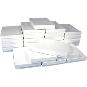 Findingking 25 White Swirl Cotton Boxes Necklace Jewelry Gift Box Displays 7
