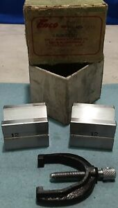 Vee Block And Clamp Set Enco Model 420 5410 2 Blocks 1 Clamp In Box Marked 12