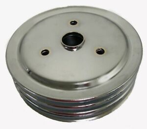 Sbc 305 350 Small Block Chevy 3 Groove Chrome Crank Pulley Short Water Pump Swp