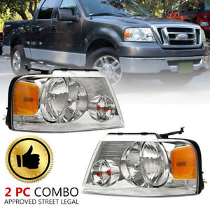Headlights Assembly For 2004 2008 Ford F 150 F150 Chrome Housing Clear Side Pair