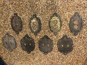 Antique Switch Plates Outlet Covers Vintage Brass Metal Lot Of 8 Doubles Singles