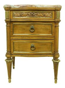 51470ec Vintage French Louis Xvi Style Walnut Marble Top Nightstand