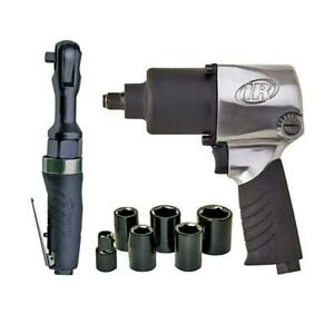 Pneumatic Air Impact Wrench And Ratchet Kit Variable Speed Twin Hammer Mechanism