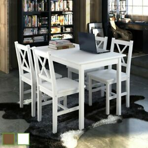 Us Kitchen Dining Set Wooden Furniture Seat Table And Chairs White brown