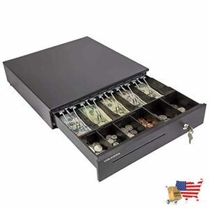 Cash Register Drawer And Wireless Barcode Scanner For Pos 5 Bill 6 Coin Cash Tra