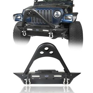Stubby Front Bumper W Stinger Bar Winch Plate Fit Jeep Wrangler 1997 2006 Tj