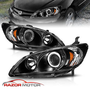 led Halo for 2004 2005 Honda Civic Coupe sedan Black Projector Headlights Pair