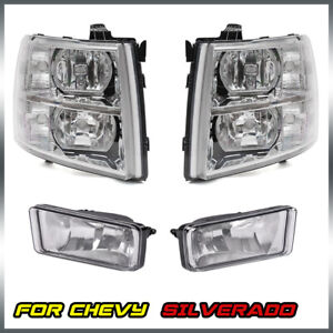 For 2007 2014 Chevy Silverado 1500 2500hd 3500hd Headlights Clear Fog Light