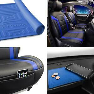 Faux Leather Seat Covers Cushion Pad Front Bucket Blue W dash Mat
