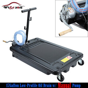 Low Profile Oil Drain Pan 17 Gallon Portable For Truck Car With Pump 8 Hose