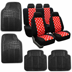 Car Seat Covers Highback Polka Dots Red Black For Girl Rubber Floor Mat Set