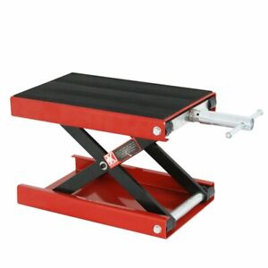 Red Motorcycle Scooter Crank 1100 Lb Stand Mini Scissor Lift Jack Atv Dirt Bike