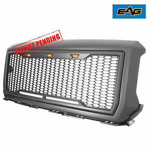 Eag Fit 2014 2015 Gmc Sierra 1500 Mesh Led Grille Grill Raptor Style Front Upper