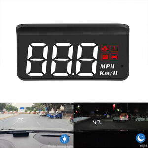 Large Font Car Obd2 Head Up Display Hud Speedometer Overspeed Tired Alarm Mph Km