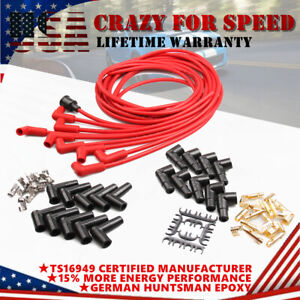 Red 8mm Spark Plug Lgnition Cable Wires Kit For Pre Post Hei Vehicles Universal