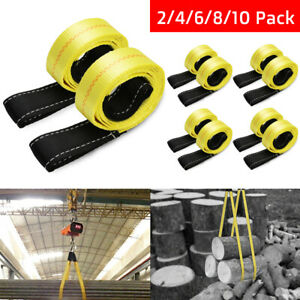 2inx6ft 4 5 Ton Lifting Towing Webbing Sling Recovery Strap Rope Reinforced Safe