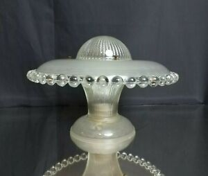 Complete Working Art Deco Streamlined Glass Ufo Ceiling Fixture Light Antique