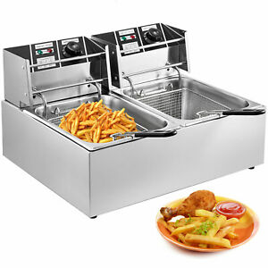Countertop Electric Deep Fryer Dual Tank Stainless Steel Commercial Restaurant