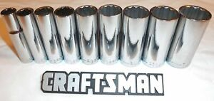 Craftsman 9pc 3 8 12pt Sae Deep Sockets Set New Hand Tools Inch Std Drive Point