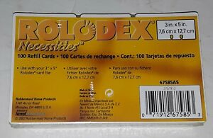 Rolodex Necessities Refill Cards 100ct 3 X 5 White 67585as New Old Stock