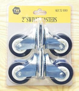 2 Rubber Casters Ball Bearings Set Of 4 80lb Capacity Each 2 55 Overall Height