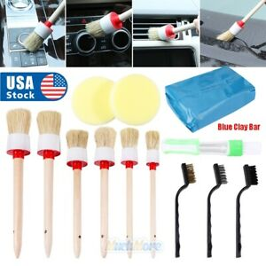 12pcs Car Detailing Brush Kit Boar Hair Vehicle Auto Engine Wheel Clean Brushes