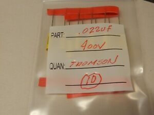 Thomson 022uf 400v Metalized Polyester Axial Lead Nos Capacitors Qty 10