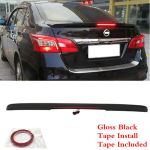 Fit For Nissan Sentra 2013 2019 Black Rear Trunk Lip Spoiler Abs Wing With Light