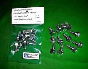 73 87 Chevy Truck Rally Wheel Center Cap Bolts 12pc New Blazer Suburban 81 87