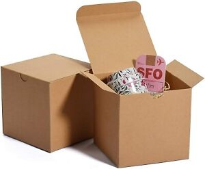 Natural Kraft Tuck Top Gift Boxes 4x4x4 Lot Of 10