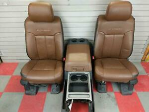 2011 2016 Ford F250 F350 Platinum Lh Rh Front Seats Brown Leather W Console