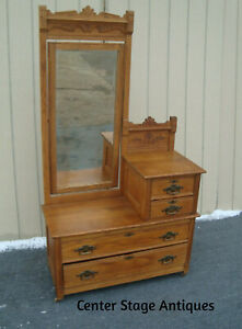 61725 Antique Oak Eastlake Washstand Dresser With Beveled Mirror