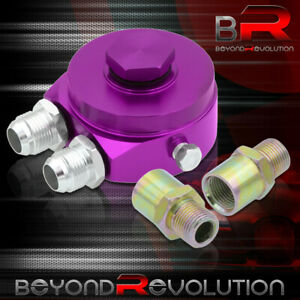Purple Aluminum Sandwich Oil Adapter Filter Cooler Plate 10an Fitting For Chevy