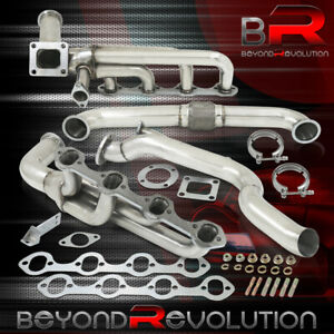 For 1979 1995 Mustang 5 0l V8 Racing T4 Turbo Manifold Exhaust Cross Down Pipe